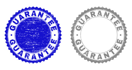 Grunge GUARANTEE stamp seals isolated on a white background. Rosette seals with grunge texture in blue and grey colors. Vector rubber stamp imitation of GUARANTEE text inside round rosette.