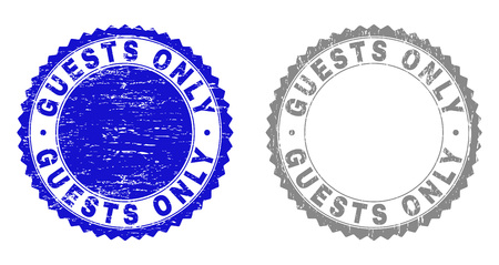 Grunge GUESTS ONLY stamp seals isolated on a white background. Rosette seals with grunge texture in blue and gray colors. Vector rubber stamp imprint of GUESTS ONLY title inside round rosette.