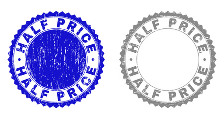 Grunge HALF PRICE stamp seals isolated on a white background. Rosette seals with grunge texture in blue and gray colors. Vector rubber stamp imitation of HALF PRICE text inside round rosette.