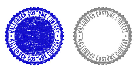 Grunge HALLOWEEN COSTUME CONTEST stamp seals isolated on a white background. Rosette seals with grunge texture in blue and gray colors. Vector Illustration