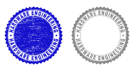 Grunge HARDWARE ENGINEERING stamp seals isolated on a white background. Rosette seals with grunge texture in blue and grey colors.