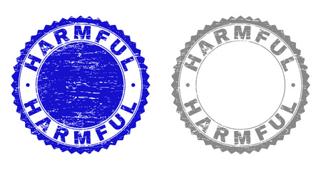 Grunge HARMFUL stamp seals isolated on a white background. Rosette seals with grunge texture in blue and grey colors. Vector rubber stamp imitation of HARMFUL title inside round rosette.