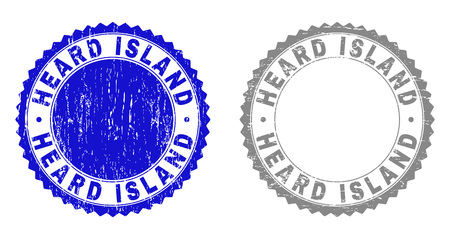 Grunge HEARD ISLAND stamp seals isolated on a white background. Rosette seals with distress texture in blue and gray colors. Vector rubber stamp imitation of HEARD ISLAND label inside round rosette.