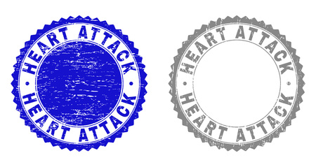 Grunge HEART ATTACK stamp seals isolated on a white background. Rosette seals with grunge texture in blue and gray colors. Vector rubber stamp imprint of HEART ATTACK tag inside round rosette.