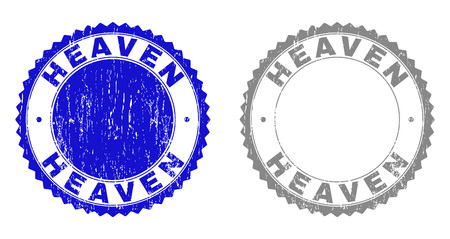 Grunge HEAVEN stamp seals isolated on a white background. Rosette seals with grunge texture in blue and grey colors. Vector rubber stamp imprint of HEAVEN caption inside round rosette.