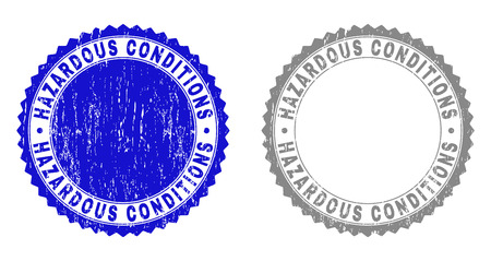 Grunge HAZARDOUS CONDITIONS stamp seals isolated on a white background. Rosette seals with grunge texture in blue and gray colors.