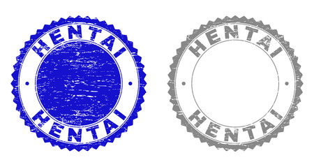 Grunge HENTAI stamp seals isolated on a white background. Rosette seals with grunge texture in blue and gray colors. Vector rubber stamp imitation of HENTAI label inside round rosette.