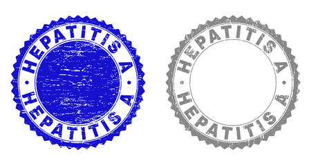 Grunge HEPATITIS A stamp seals isolated on a white background. Rosette seals with grunge texture in blue and gray colors. Vector rubber stamp imitation of HEPATITIS A label inside round rosette. Vettoriali