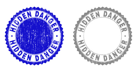 Grunge HIDDEN DANGER stamp seals isolated on a white background. Rosette seals with grunge texture in blue and gray colors. Vector rubber overlay of HIDDEN DANGER caption inside round rosette. 向量圖像