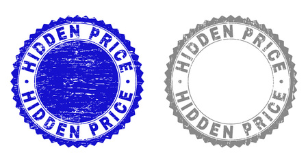 Grunge HIDDEN PRICE stamp seals isolated on a white background. Rosette seals with grunge texture in blue and gray colors. Vector rubber stamp imitation of HIDDEN PRICE title inside round rosette. 向量圖像