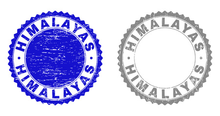 Grunge HIMALAYAS stamp seals isolated on a white background. Rosette seals with distress texture in blue and grey colors. Vector rubber stamp imprint of HIMALAYAS text inside round rosette.