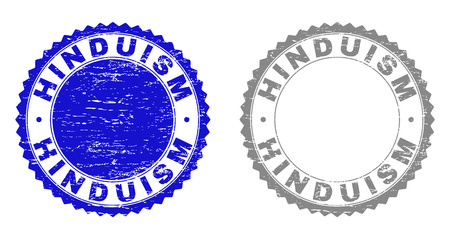 Grunge HINDUISM stamp seals isolated on a white background. Rosette seals with grunge texture in blue and gray colors. Vector rubber stamp imprint of HINDUISM title inside round rosette.