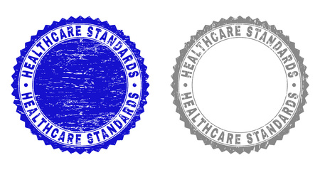 Grunge HEALTHCARE STANDARDS stamp seals isolated on a white background. Rosette seals with grunge texture in blue and grey colors.