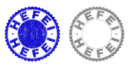 Grunge HEFEI stamp seals isolated on a white background. Rosette seals with grunge texture in blue and grey colors. Vector rubber stamp imprint of HEFEI caption inside round rosette.