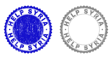 Grunge HELP SYRIA stamp seals isolated on a white background. Rosette seals with grunge texture in blue and grey colors. Vector rubber stamp imitation of HELP SYRIA title inside round rosette.
