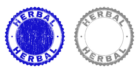 Grunge HERBAL stamp seals isolated on a white background. Rosette seals with distress texture in blue and grey colors. Vector rubber stamp imprint of HERBAL text inside round rosette.