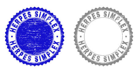 Grunge HERPES SIMPLEX stamp seals isolated on a white background. Rosette seals with grunge texture in blue and grey colors. Vector rubber watermark of HERPES SIMPLEX title inside round rosette.