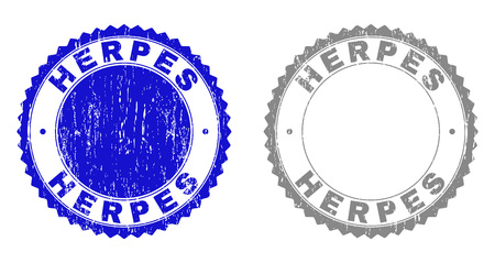 Grunge HERPES stamp seals isolated on a white background. Rosette seals with distress texture in blue and grey colors. Vector rubber stamp imitation of HERPES text inside round rosette. Ilustracja