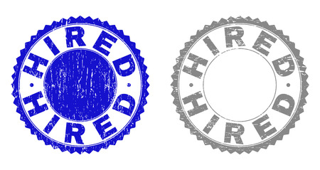 Grunge HIRED stamp seals isolated on a white background. Rosette seals with grunge texture in blue and gray colors. Vector rubber stamp imprint of HIRED label inside round rosette. Illustration