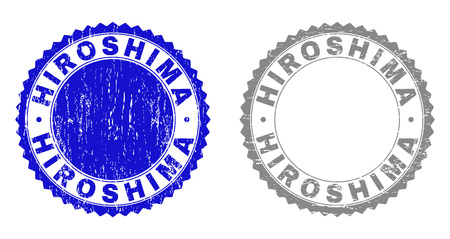 Grunge HIROSHIMA stamp seals isolated on a white background. Rosette seals with grunge texture in blue and gray colors. Vector rubber stamp imitation of HIROSHIMA text inside round rosette.