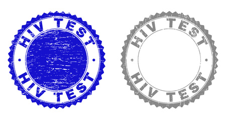 Grunge HIV TEST stamp seals isolated on a white background. Rosette seals with distress texture in blue and gray colors. Vector rubber overlay of HIV TEST title inside round rosette.