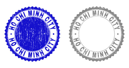 Grunge HO CHI MINH CITY stamp seals isolated on a white background. Rosette seals with grunge texture in blue and gray colors.