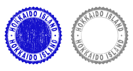Grunge HOKKAIDO ISLAND stamp seals isolated on a white background. Rosette seals with grunge texture in blue and gray colors.