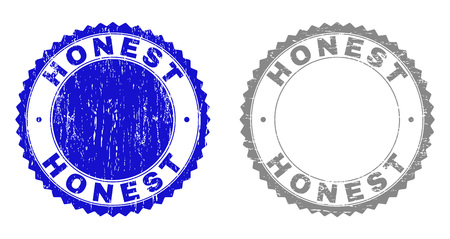 Grunge HONEST stamp seals isolated on a white background. Rosette seals with grunge texture in blue and gray colors. Vector rubber stamp imprint of HONEST title inside round rosette. 일러스트