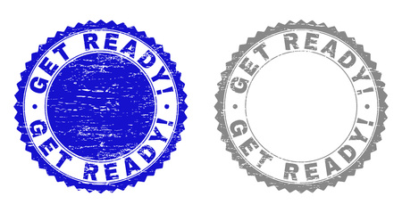 Grunge GET READY! stamp seals isolated on a white background. Rosette seals with grunge texture in blue and grey colors. Vector rubber watermark of GET READY! title inside round rosette.