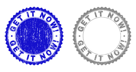 Grunge GET IT NOW! stamp seals isolated on a white background. Rosette seals with grunge texture in blue and gray colors. Vector rubber overlay of GET IT NOW! label inside round rosette.