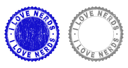 Grunge I LOVE NERDS stamp seals isolated on a white background. Rosette seals with grunge texture in blue and grey colors. Vector rubber stamp imprint of I LOVE NERDS label inside round rosette.