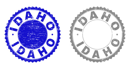 Grunge IDAHO stamp seals isolated on a white background. Rosette seals with grunge texture in blue and grey colors. Vector rubber stamp imitation of IDAHO title inside round rosette.
