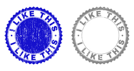 Grunge I LIKE THIS stamp seals isolated on a white background. Rosette seals with grunge texture in blue and grey colors. Vector rubber watermark of I LIKE THIS label inside round rosette. Stock Illustratie