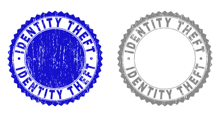 Grunge IDENTITY THEFT stamp seals isolated on a white background. Rosette seals with distress texture in blue and grey colors. Vector rubber stamp imprint of IDENTITY THEFT label inside round rosette. Illustration