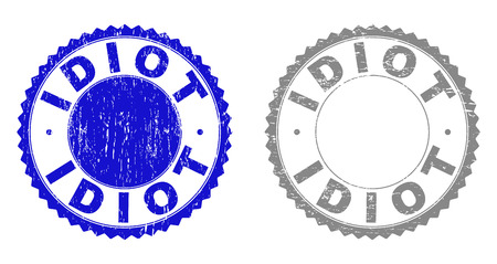 Grunge IDIOT stamp seals isolated on a white background. Rosette seals with grunge texture in blue and gray colors. Vector rubber watermark of IDIOT title inside round rosette.