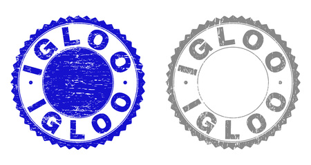 Grunge IGLOO stamp seals isolated on a white background. Rosette seals with grunge texture in blue and gray colors. Vector rubber stamp imitation of IGLOO caption inside round rosette.