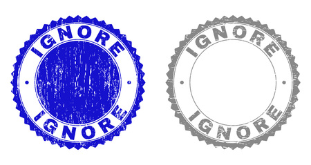 Grunge IGNORE stamp seals isolated on a white background. Rosette seals with grunge texture in blue and grey colors. Vector rubber stamp imitation of IGNORE caption inside round rosette.