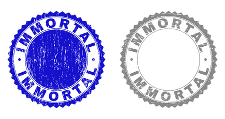 Grunge IMMORTAL stamp seals isolated on a white background. Rosette seals with grunge texture in blue and gray colors. Vector rubber stamp imitation of IMMORTAL text inside round rosette.