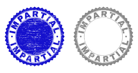 Grunge IMPARTIAL stamp seals isolated on a white background. Rosette seals with grunge texture in blue and grey colors. Vector rubber stamp imprint of IMPARTIAL text inside round rosette.