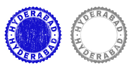 Grunge HYDERABAD stamp seals isolated on a white background. Rosette seals with grunge texture in blue and gray colors. Vector rubber stamp imprint of HYDERABAD label inside round rosette.