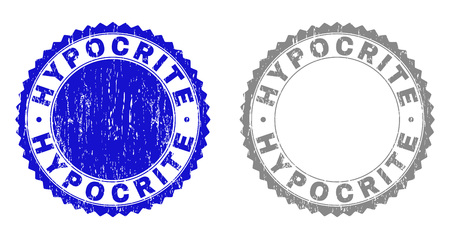 Grunge HYPOCRITE stamp seals isolated on a white background. Rosette seals with grunge texture in blue and gray colors. Vector rubber stamp imprint of HYPOCRITE title inside round rosette.