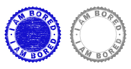 Grunge I AM BORED stamp seals isolated on a white background. Rosette seals with grunge texture in blue and gray colors. Vector rubber stamp imitation of I AM BORED caption inside round rosette.