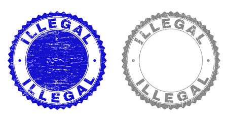 Grunge ILLEGAL stamp seals isolated on a white background. Rosette seals with grunge texture in blue and gray colors. Vector rubber stamp imprint of ILLEGAL title inside round rosette.
