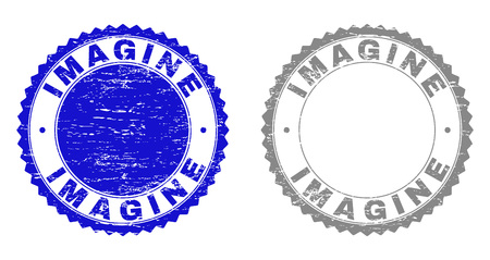 Grunge IMAGINE stamp seals isolated on a white background. Rosette seals with grunge texture in blue and gray colors. Vector rubber stamp imprint of IMAGINE tag inside round rosette.