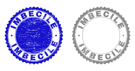 Grunge IMBECILE stamps isolated on a white background. Rosette seals with grunge texture in blue and gray colors. Vector rubber stamp imitation of IMBECILE caption inside round rosette.