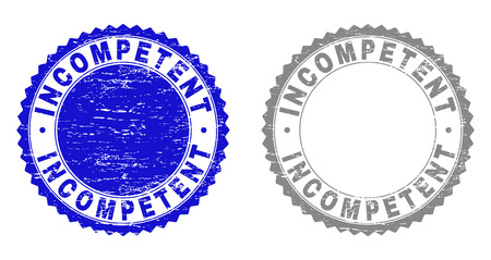 Grunge INCOMPETENT stamp seals isolated on a white background. Rosette seals with grunge texture in blue and gray colors. Vector rubber stamp imprint of INCOMPETENT tag inside round rosette.