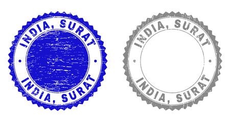 Grunge INDIA, SURAT stamp seals isolated on a white background. Rosette seals with distress texture in blue and gray colors. Vector rubber stamp imitation of INDIA, SURAT text inside round rosette. Stock Vector - 125403446