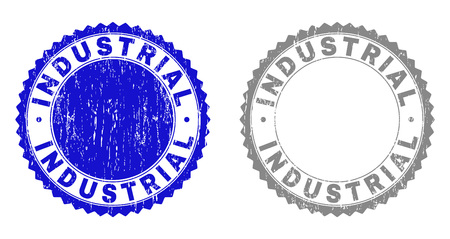 Grunge INDUSTRIAL stamp seals isolated on a white background. Rosette seals with grunge texture in blue and grey colors. Vector rubber overlay of INDUSTRIAL text inside round rosette.