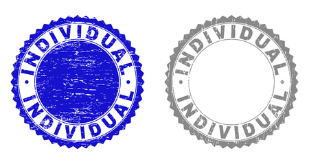 Grunge INDIVIDUAL stamp seals isolated on a white background. Rosette seals with distress texture in blue and gray colors. Vector rubber stamp imprint of INDIVIDUAL label inside round rosette.