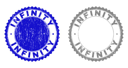Grunge INFINITY stamp seals isolated on a white background. Rosette seals with grunge texture in blue and grey colors. Vector rubber stamp imprint of INFINITY label inside round rosette.
